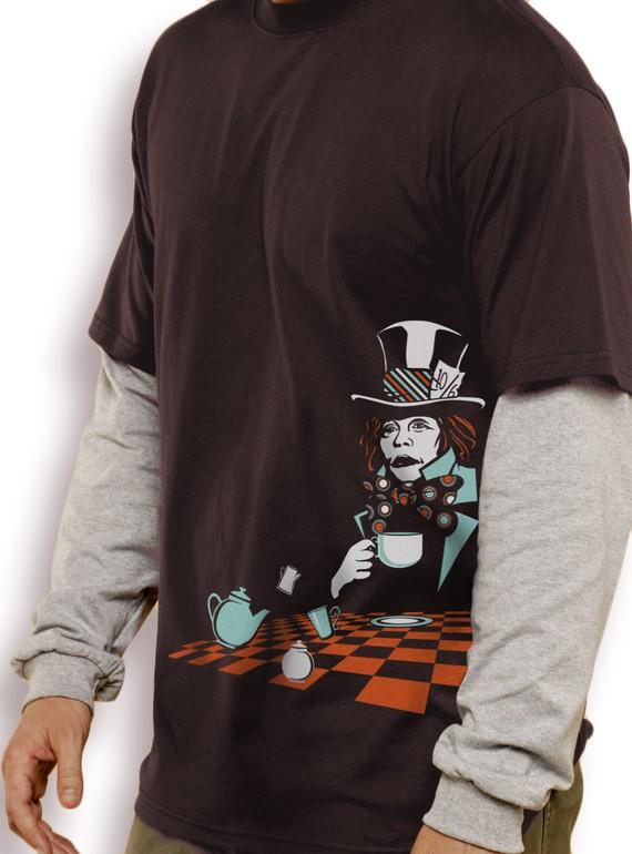 Alice in Wonderland T-Shirt Mad Hatter Glow in the Dark